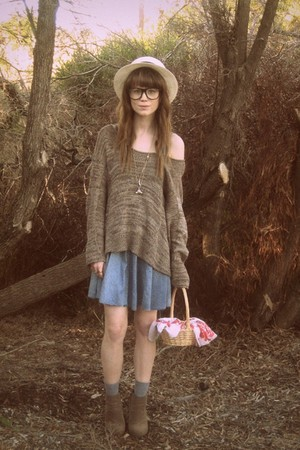 brown Sportsgirl jumper - blue moolaba dress - Rubi shoes shoes