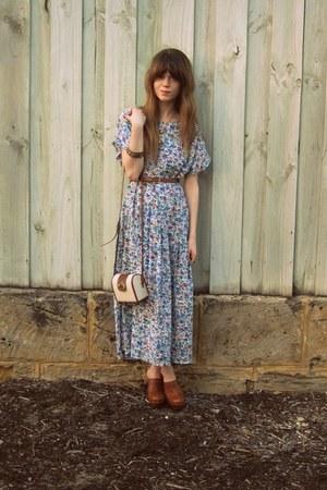 vintage dress - Sportsgirl bag - Hobbs clogs