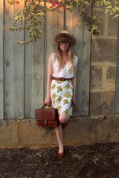 Dotti hat - Bally loafers - vintage belt - LittleGracie skirt