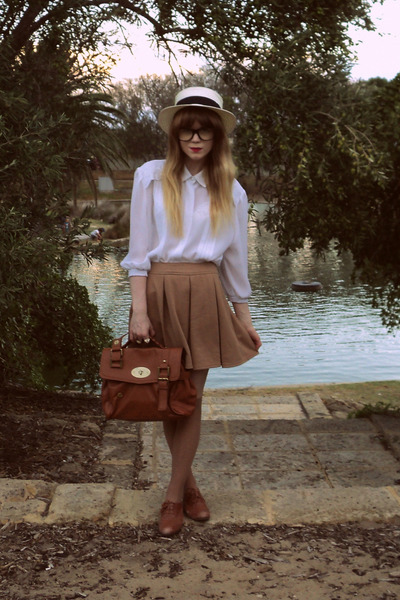 Sportsgirl hat - Tempt bag - Sportsgirl flats - thrifted blouse - Dotti skirt