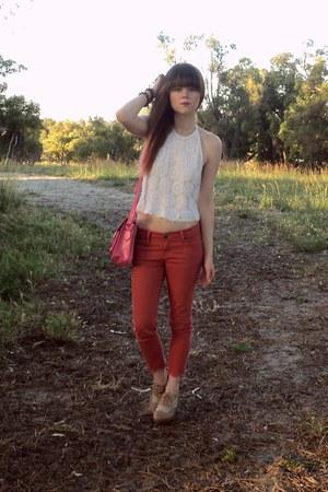 top - jeans - bag - heels