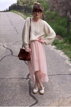 thrifted bag - Valleygirl skirt - thrifted jumper - Marie Claire flats