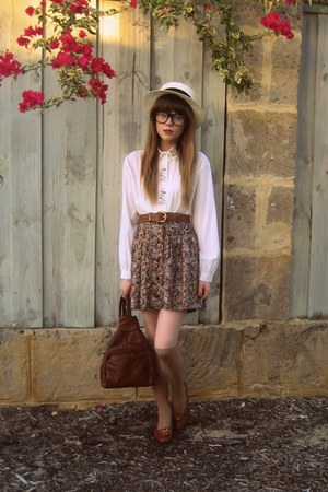 thrifted shirt - thrifted bag - Valleygirl skirt - vintage belt - Bally loafers
