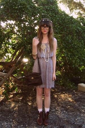 vintage boots - vallerygirl dress - thrifted bag