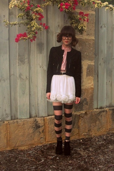 Target skirt - River Island jacket - asos tights - thrifted blouse