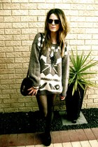 thrifted jumper - thrifted bag - Topshop tights - thrifted glasses