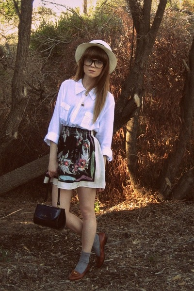 Sportsgirl hat - thrifted shirt - cotton on skirt - Bally shoes - thrifted vinta