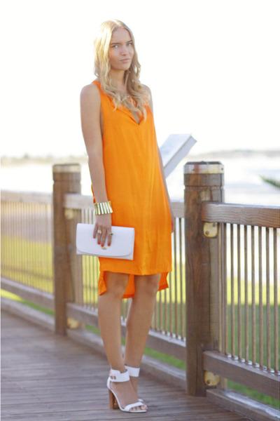 orange Bettina Liano dress - white reflect Topshop shoes - white vintage purse