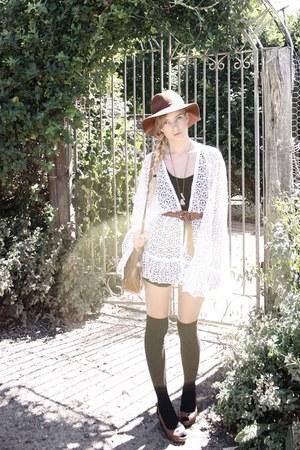 wedges vintage shoes - tank supre dress - lace kimono DIY coat - floppy fedora a