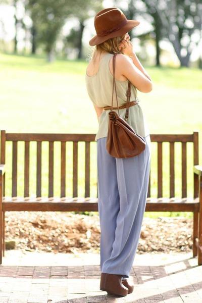 dark brown lace up Zara wedges - brown akubra asos hat - dark brown vintage bag