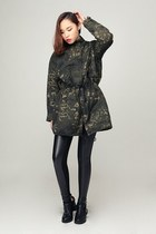 storets boots - black storets leggings - army green storets intimate