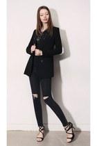 black storets jeans - black storets blazer - black storets blouse