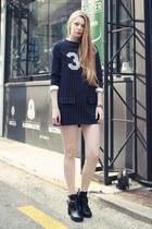 black storets boots - navy storets dress