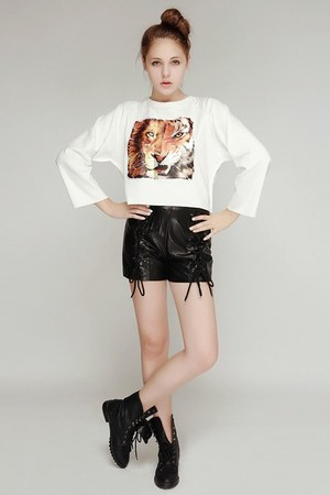 white storets top - tawny storets boots - black storets shorts