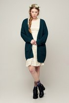 forest green storets cardigan - black storets boots - ivory storets dress