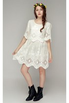 black workman boots storets boots - ivory storets dress