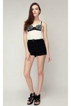 black storets shorts - white storets top - silver storets earrings