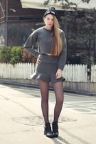 heather gray storets top - storets boots - black storets hat - storets skirt