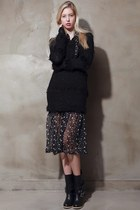 black storets boots - black storets dress - black storets sweater