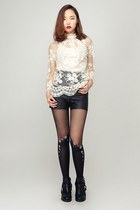 ivory storets blouse - storets boots - storets tights - black storets shorts