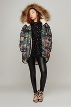 dark green storets coat - black storets leggings - dark brown storets top