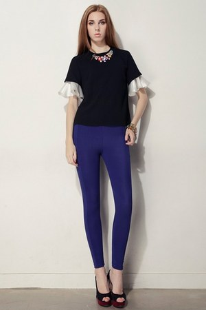 black storets top - silver storets bracelet - blue riding pants storets pants