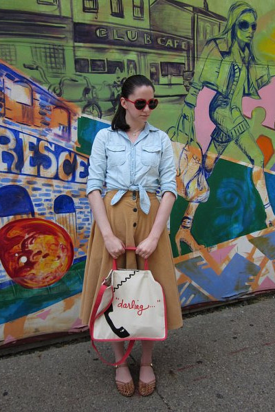 light yellow vintage necklace - light blue chambray Gap shirt - coral r&em bag