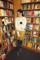 cream Urban Outfitters sweater - mustard Gap skirt - dark gray Forever 21 tights