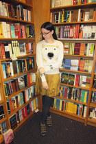 cream Urban Outfitters sweater - mustard Gap skirt - dark gray Forever 21 tights