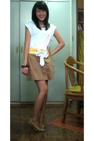 Topshop shirt - belt - just g skirt - Nine West shoes