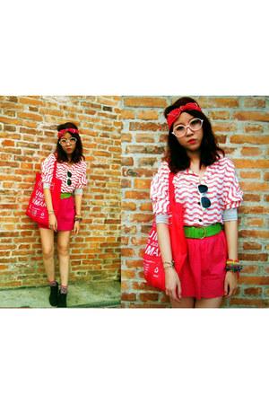 crimson boots - salmon bat wing shirt - hot pink Bossini bag - hot pink skirt -