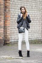 white Zara jeans - white H&M hat - black nike jacket