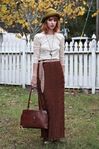 vintage hat - eggshell lace Urban Outfitters shirt - dark brown vintage purse