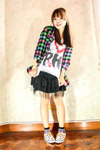 magenta fila socks - white Green Berries top - dark gray Never Been Kissed skirt