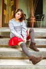 Silver-vanilla-pop-sweater-heather-gray-forever-21-socks-red-bubbles-skirt