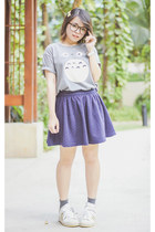 heather gray Elle Poupee t-shirt - charcoal gray Forever 21 socks