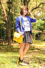 Yellow-sm-store-shoes-blue-sm-gtw-blazer-white-baleno-shirt