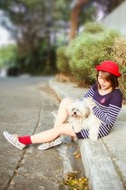 red sm accessories hat - white Keds shoes - navy Vanilla Pop dress