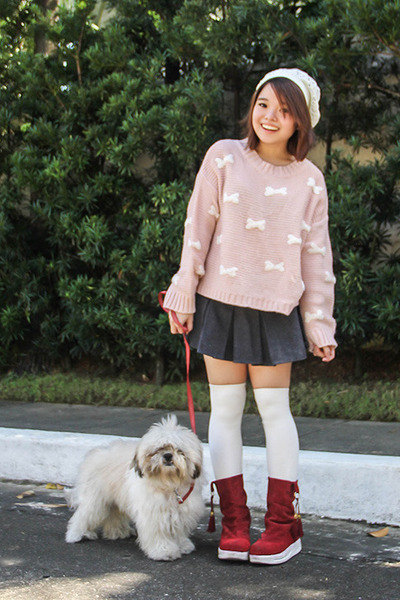 white gifted hat - brick red AsianVogue boots - light pink Vanilla Pop sweater