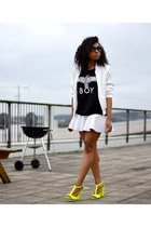 white Bik Bok jacket - black Boy London top - white H&M skirt