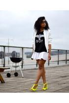 white Bik Bok jacket - black Boy London top - white H&M skirt