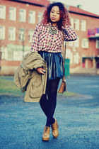 brick red GINA TRICOT shirt - olive green H&M jacket - black sammydress skirt