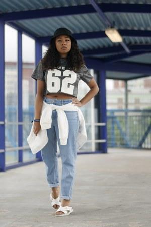 blue Topshop jeans - white Bik Bok jacket - silver H&M top