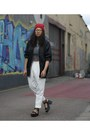 Black-gina-tricot-jacket-ivory-monki-pants