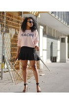 light pink H&M sweatshirt - black H&M skirt