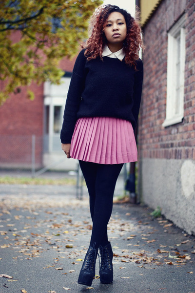 bubble gum H&M skirt - black Jeffrey Campbell shoes - black H&M jumper