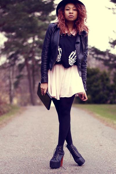 black jeffrey C boots - light pink H&M dress - black Stradivarious hat