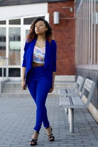 blue ShopGoldie blazer - blue GinaTricot pants - violet BikBok top