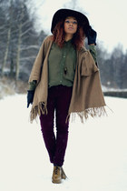 camel poncho asoscom cardigan - crimson lindex pants - olive green H&M blouse