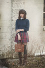 Ivory-blouse-navy-sweater-magenta-skirt-charcoal-gray-stockings-crimson-